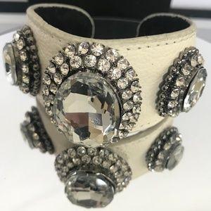 Traci Lynn Faux Leather/Rhinestone Bracelet
